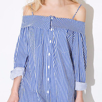 Blue Off Shoulder Long Sleeve with Pointed Flat Collar Striped Mini Dress
