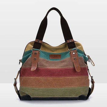 Rainbow Natural Cotton Canvas Bag