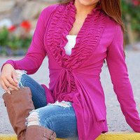 Pink Flouncing V Neck Long Sleeve Cardigan