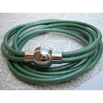 Womens  Leather Bracelet with Stainless Steel Magnetic Clasp, Metallic Teal Triple Wrap - MB09  Urban Survival Gear USA