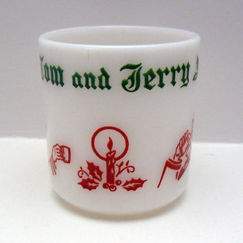 Hazel Atlas Mug Punch or Egg Nog Mug Milkglass Replacement Tom and Jerry Christmas Holly Scene on Milk Glass Cup Holiday Drinkware