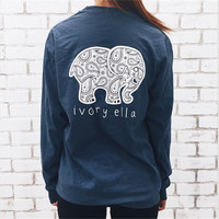 6 Color Brand New 2016 Summer Ivory Ella T-shirt Women Tops Tee Print Animal Elephant T Shirt Loose Long Sleeve Harajuku Tops