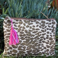 Gold Animal Printed Make Up Bag