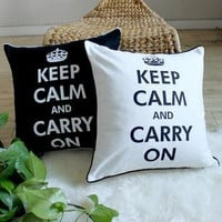 """Keep Calm and Carry On Canvas Cushion Cover/ Burlap Throw Pillow Cover available in 18""""x 18"""" both black and white"""