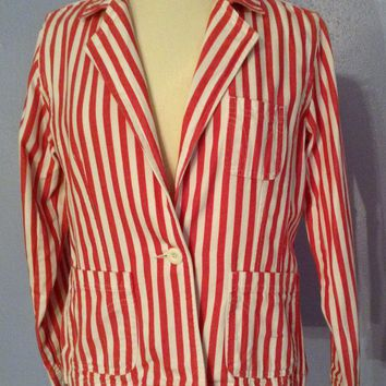 Bill Blass Pink and White Striped Womens Jeans Jacket , Denim Blazer M