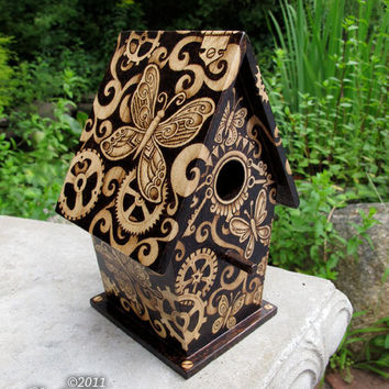 Steampunk Butterfly Birdhouse - home decor