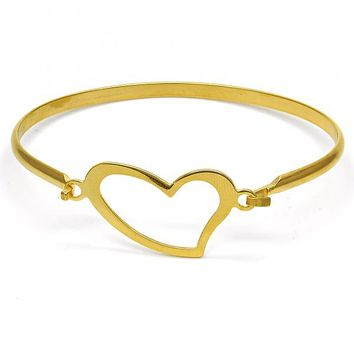 Stainless Steel 07.110.0009.05 Individual Bangle, Heart Design, Polished Finish, Golden Tone (04 MM Thickness, Size 5 - 2.50 Diameter)