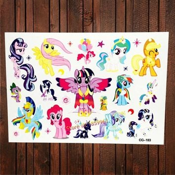 FANRUI 3D Cartoon Poni Waterproof Temporary Tattoo Stickers Fake Flash Body Art Arm Tatoo Children My Little Pony Tattoo Decals