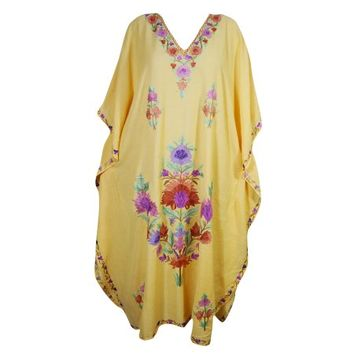 Mogul Women's Yellow Kaftan Kimono Sleeves Beautiful Floral Embroidered Evening Resort Wear Stylish Lounge Maxi Caftan Dresses 4XL - Walmart.com