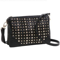 MG Collection CALLIE Black Gothic Studded Rhinestones Mini Bag Crossbody Handbag