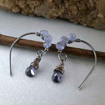 Tanzanite Earrings Iolite Jewelry Wire Wrap Briolette Earrings Blue Gemstone Earrings Oxidized Silver Patina Silver Sparkly Gemstone Mix