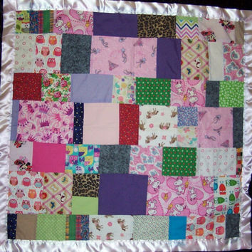 Baby Girl Quilt originally 25. Toddler Quilt , I Spy Quilt for Girls, Handmade Patchwork Quilt with pink back, owls, snoopy, purple.