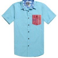 Modern Amusement Native Short Sleeve Woven Shirt - Mens Shirt - Blue - Extra Large