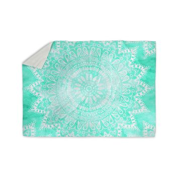 "Nika Martinez ""Boho Flower Mandala in Teal"" Aqua Green Sherpa Blanket"