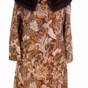 VTG NWT 1960s Golet Tapestry Womens Coat Classic Fit Natural Mink Collar Browns S Up To 14