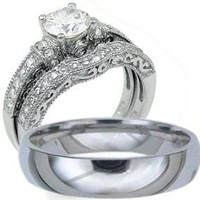 His & Hers, 925 Sterling Silver & Titanium Engagement Wedding Ring Set (Size Men's 9 Women's 6)