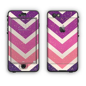 The Purple Scratched Texture Chevron Zigzag Pattern Apple iPhone 6 Plus LifeProof Nuud Case Skin Set