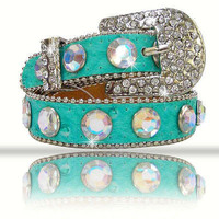 Rhinestone Bling Dog Collar Turquoise with Clear Stones