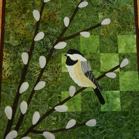 Chickadee on Pussy Willow Branches Quilted Wall Hanging, 14 x 24""