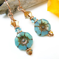Sparkly Blue Glass Earrings, Blue Flower Earrings, Pansy Hibiscus Beaded Dangles, Flower Dangles, Czech Glass Jewelry, Copper Floral Earring