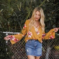 Higher Love Floral Wrap Top