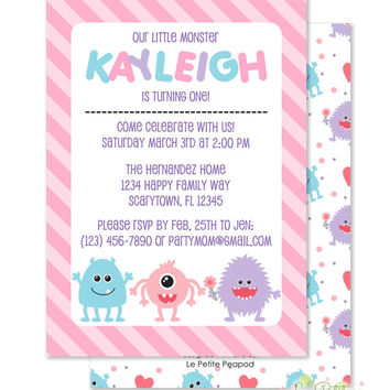 "Girl Monster Party  Invitations - Personalized 5 x 7"" - Double-Sided and Printed Birthday Invitations - Monster Party Invite"