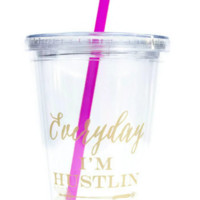 Everyday I'm Hustlin' Tumbler in Clear, Hot Pink + Matte Gold