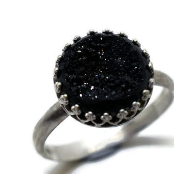 Black Druzy Agate Ring, Monochrome Jewelry, Gothic Gemstone Ring, Sterling Silver Ring, Druzy Jewelry
