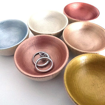 Metallic painted wood bowl, jewelry dish, ring cup, mini jewelry holder
