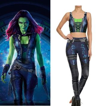 Avengers:Infinity War Gamora cosplay costume Leggings with Vest Yoga Suit  Guardians of the Galaxy