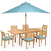 Anders Outdoor Teak 7-Pc. Dining Set (Dining Table and 6 Dining Chairs) | macys.com