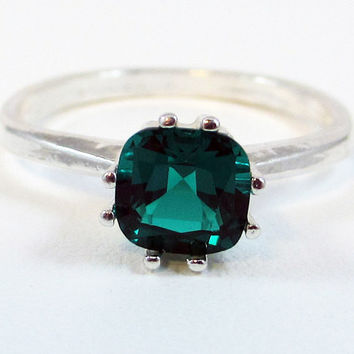 Lab Emerald Princess Ring Sterling Silver, May Birthstone Ring, Square Cut Emerald Ring, Princess Cut Emerald Ring