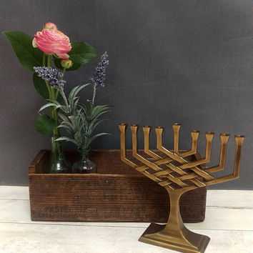 Menorah/ Hanukkah Menorah/ Brass Menorah/ Small Brass Menorah/ Vintage Menorah/ Judaica/ Jewish Gifts/ Jewish Art