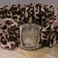 RIBGAT01 Animal Print Ribbon Watch