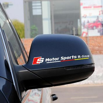 Motor sports  R-line car-styling ,reflective automobile rear view mirror decor stickers and decals for AUDI A4/A3/A6 and so on