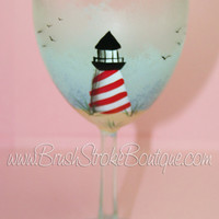 Hand Painted Wine Glass - Lighthouse - Original Designs by Cathy Kraemer