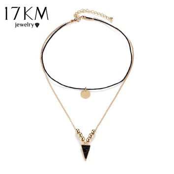 17KM Bohemia Double Layer Long Chain Pendant Choker Necklaces for Women Black Stone Triangle Necklace Vintage Collier Jewelry