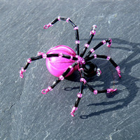 Hot Pink & Black Beaded Spider Pendant