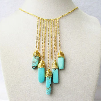 Long Gold Chain Fringe & Wire Wrapped Turquoise Howlite Spear Boho Style Necklace