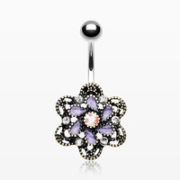 Vintage Camelia Filigree Belly Button Ring