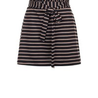 Petite Black Stripe Paperbag Waist Skirt | New Look