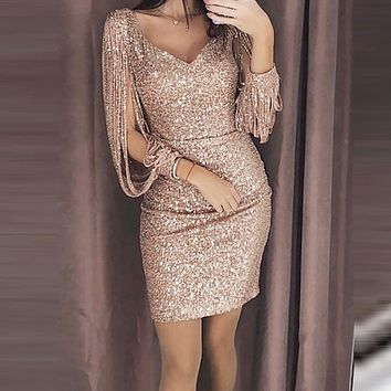 Party Dress Women Sexy Solid Sequined Stitching Shining Club Sheath Long Sleeved Mini Dress Women Party Sheath Sexy V-Neck Dress