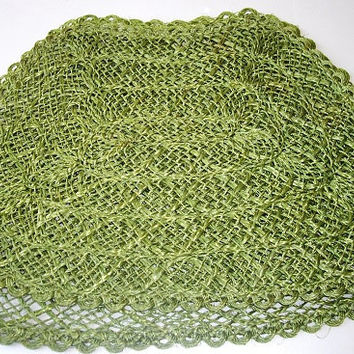 Vintage Green Woven Placemats, Home Decor Doilies, Twine Woven Table Mats, autumn holiday decor