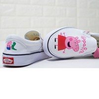 Vans Slip-On Canvas Peppa Pig Old Skool Flats Sneakers Sport Shoes White/Pink