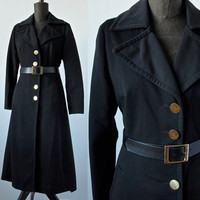 1970's Vintage Mad Men Black Polyester Long Trench Coat Mod The Matrix size Medium