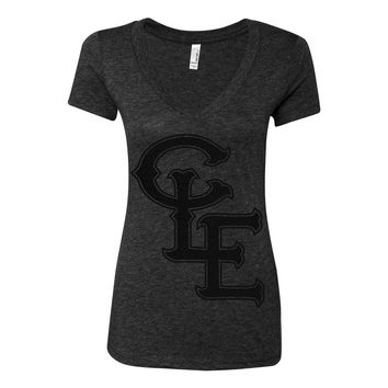 Blackout CLE Monogram Womens Vneck T-shirt