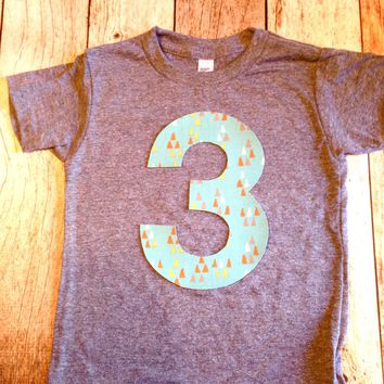 Aqua arrow birthday shirt Any NUMBER Birthday tShirt Birthday Shirt kids 1 2 3 4 5 6 7 8 9 triblend grey camp arrow feather teepee