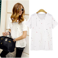Paint Stain Print Tunic T-Shirt