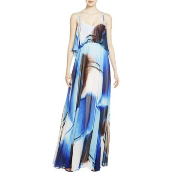 JS Collections Womens Crepe Pleated Maxi Dress