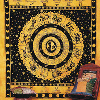 Indian Astrology Horoscoope Tapestry, Indian Wall Hanging, Bohemian Tapestry, Hippie Decor Bedspread, Indian Zodiac Tapestry, Wall Decor